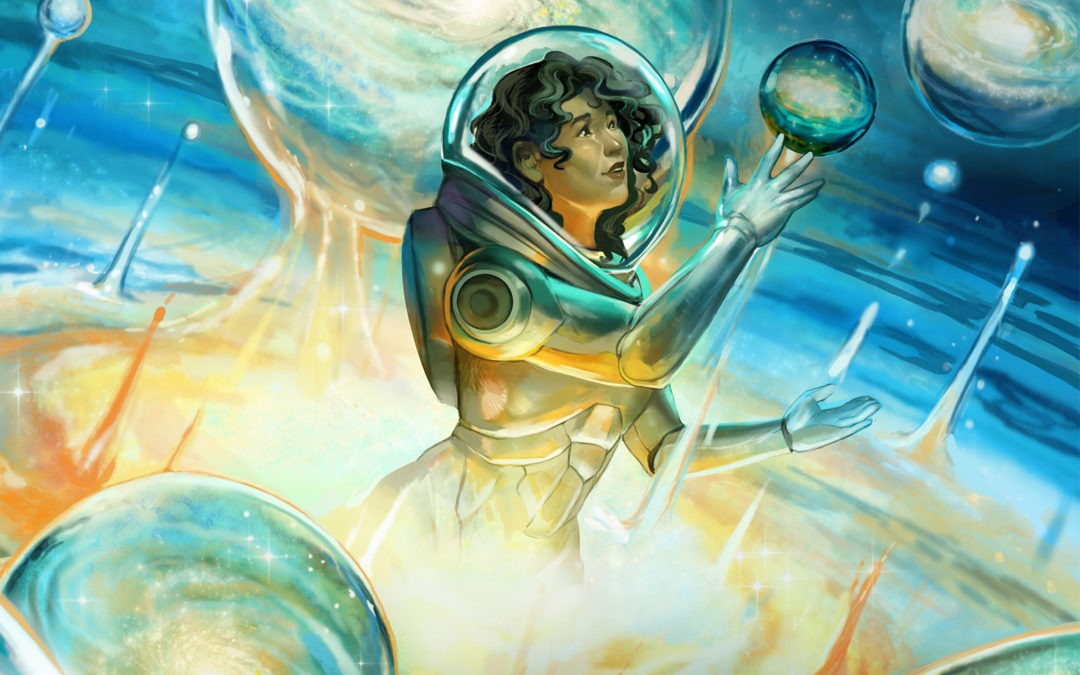 A woman in space, cover of the BEYOND THE STARS INFINITE EXPANSE anthology.